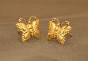 Gold Butterfly Earrings, part of the an art jewelry set with matching jade butterfly necklace.
