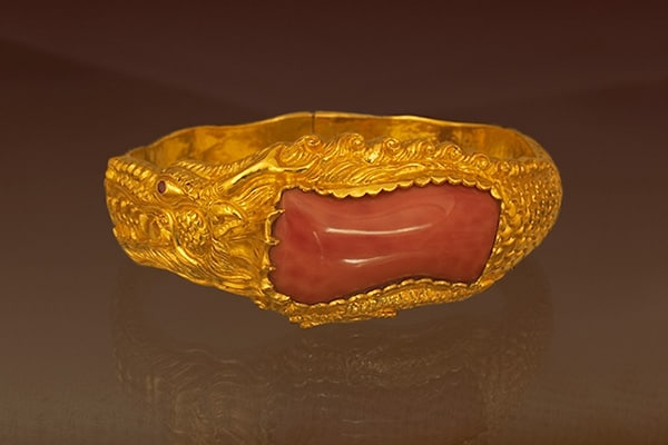 Fine Art Jewelry featuring a Red Coral and Gold Dragon Bracelet
