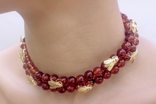 Golden Honey Bee Necklace Themed Fine Art Jewelry