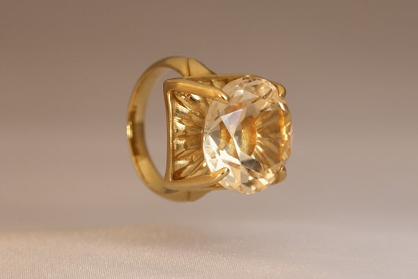Golden Topaz Flower—Ring-Fine Art Jewelry
