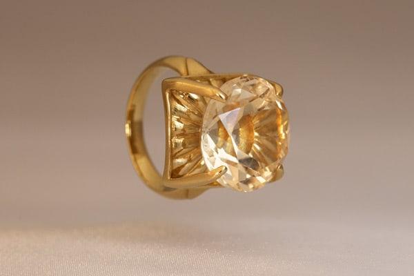 Golden Topaz Flower—Ring-Fine Art Jewelry