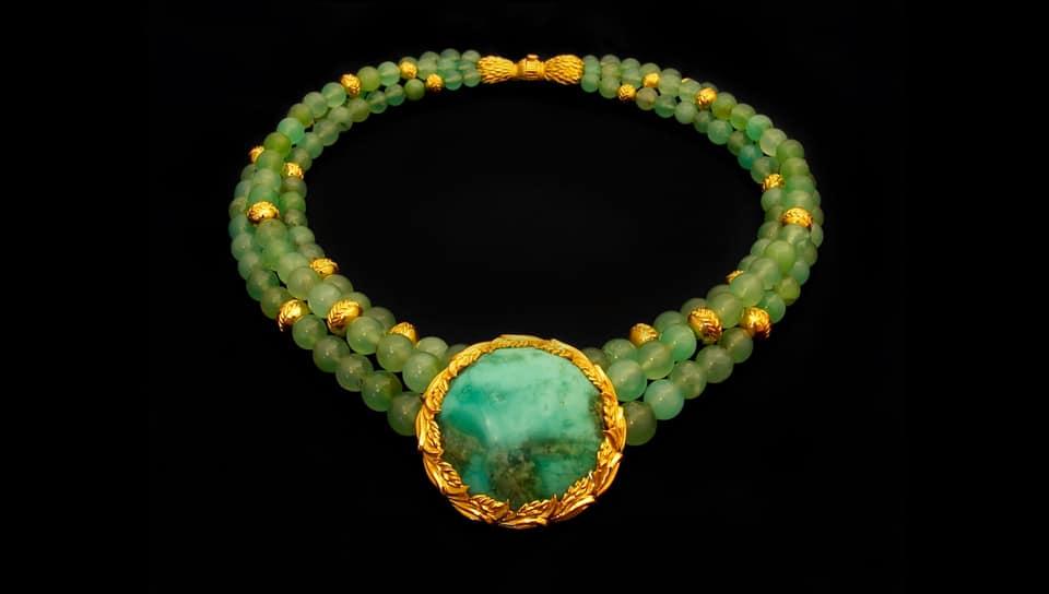 Hand Made 22 Karat Gold Designer Necklace, Featuring the Golden Rice Harvest Necklace